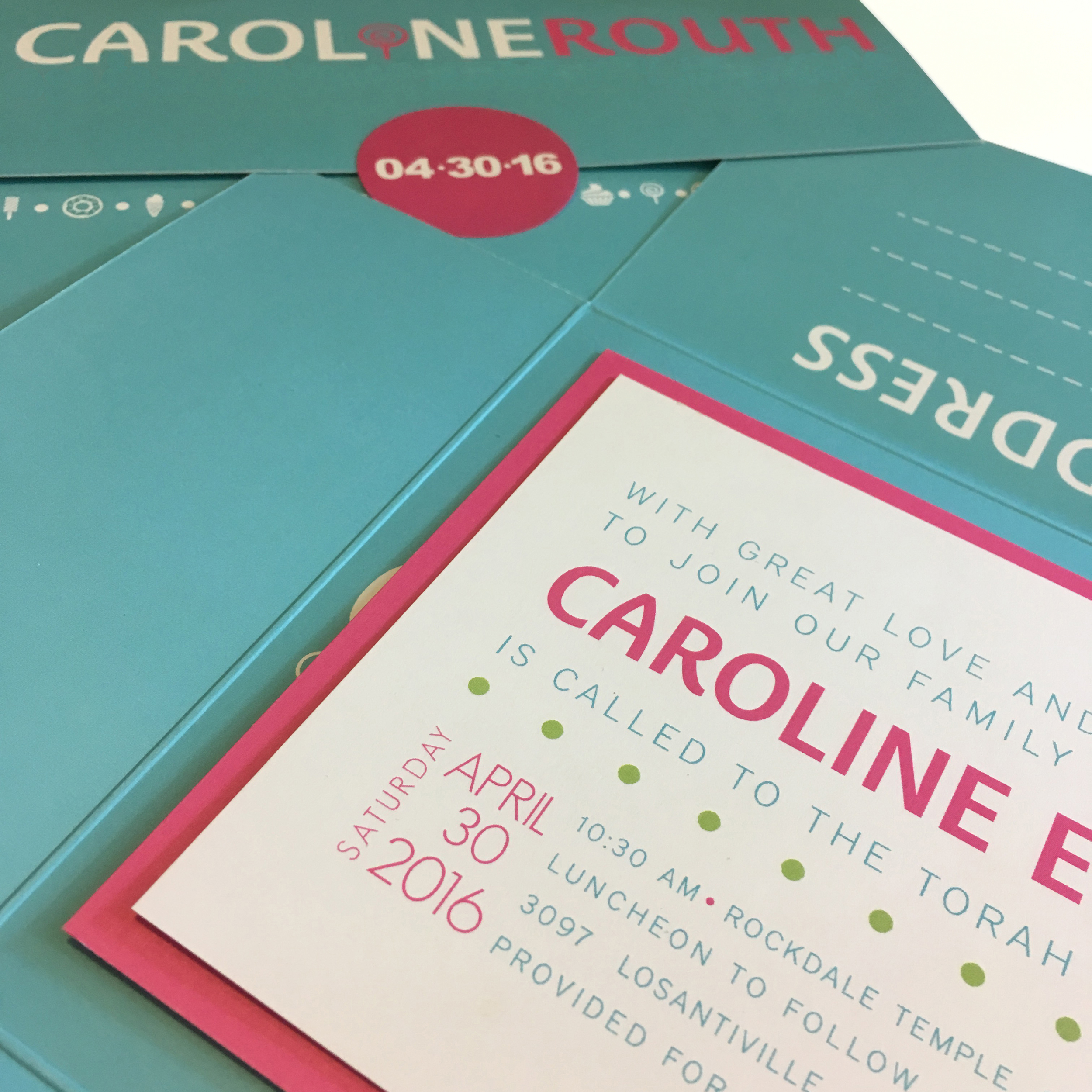 "The back of the ""envelope"" is also branded, showing the candy motif  as well as the lollipop ""i"" in Caroline's name.  The ""envelope"" opens to show the main ceremony invite."