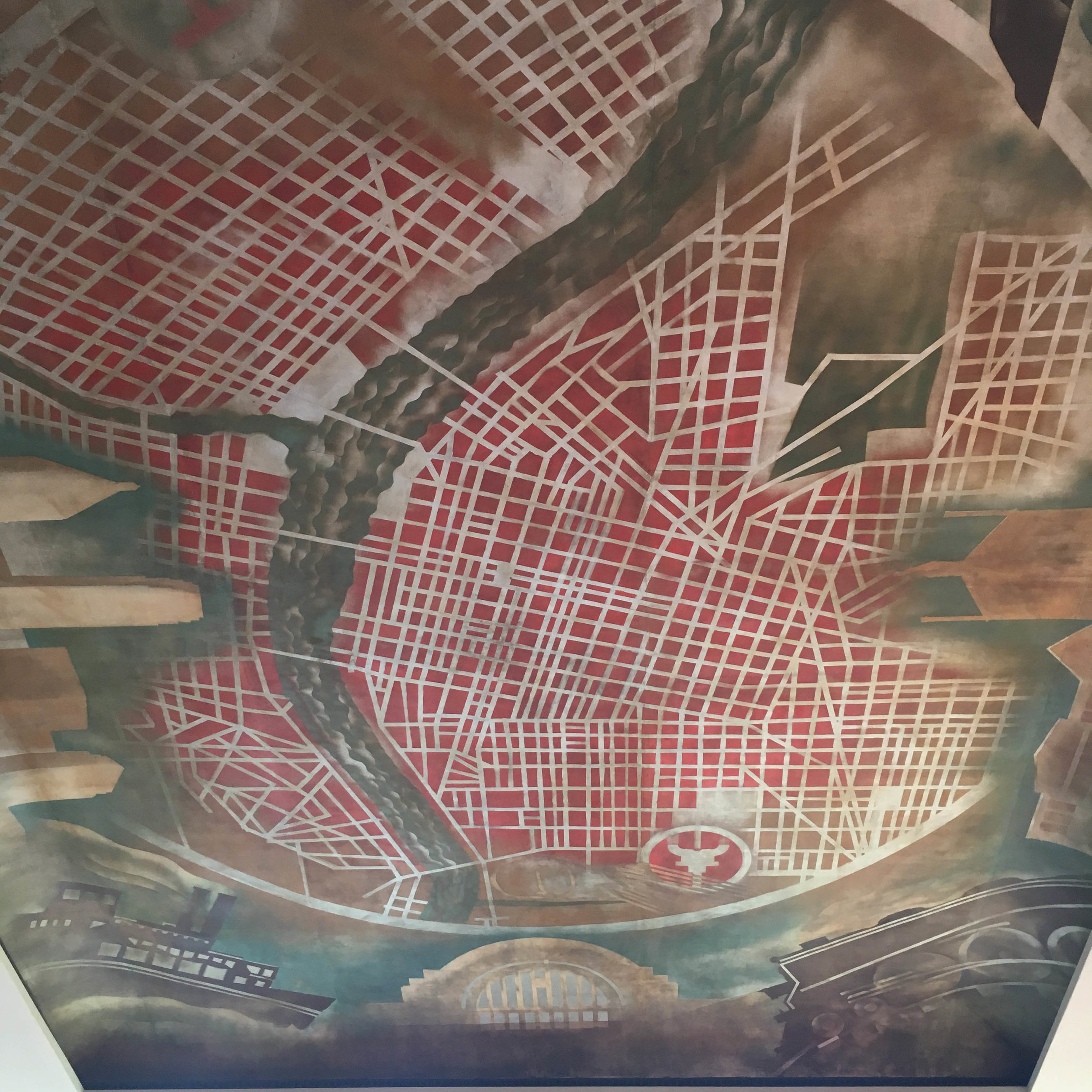 A map of Cincy.. on the ceiling.  Not only was the scale of this fresco impressive, but also the vivid colors.  There's always red in Cincy.
