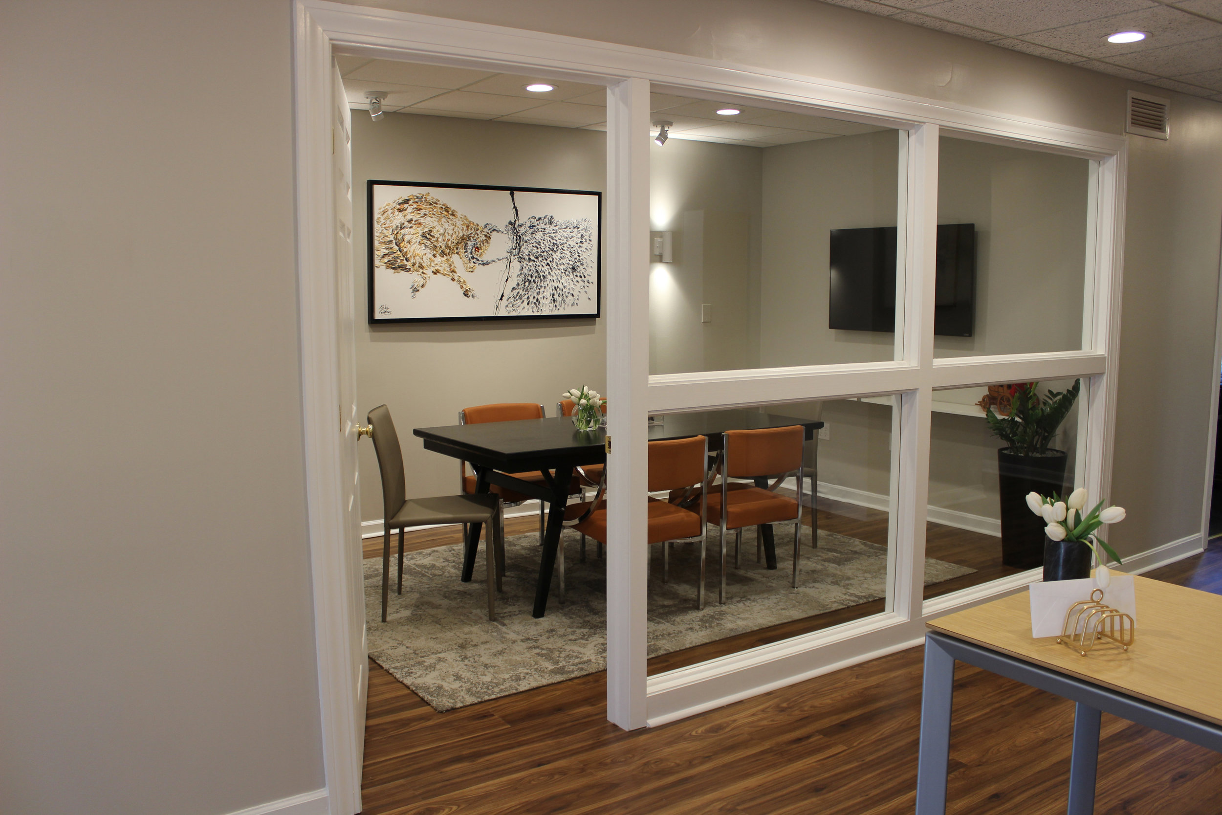 AFTER: A view into the conference room from the reception desk.