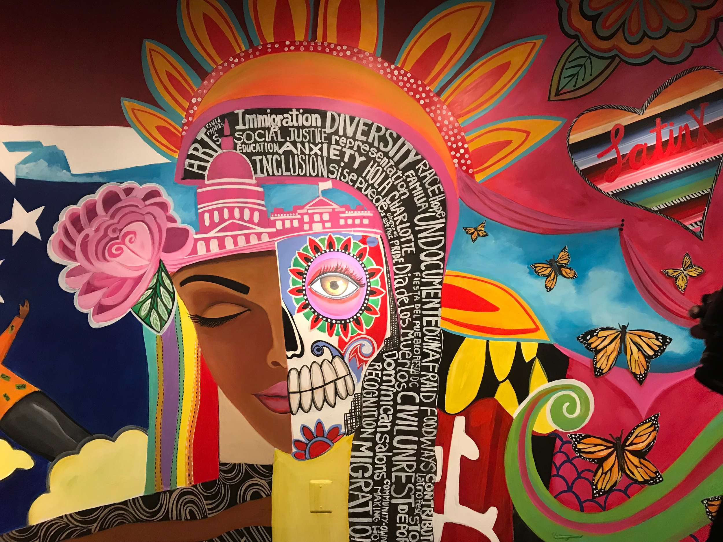 Mural by Rosalia Torres Weiner at Gateways/Portales exhibit at Smithsonian Anacostia Community Museum