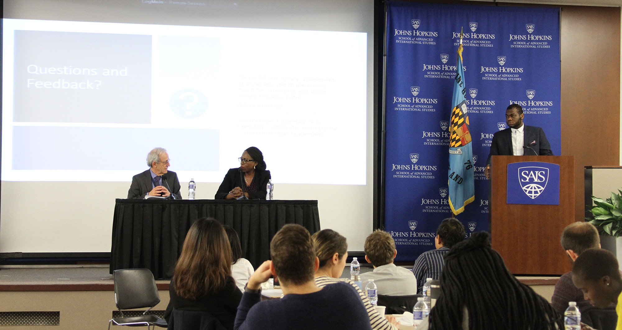 Conflict Management Program Director Daniel Serwer and Adjunct Lecturer Chiedo Nwankwor take questions moderated by Jonathan Eigege, MA '18.
