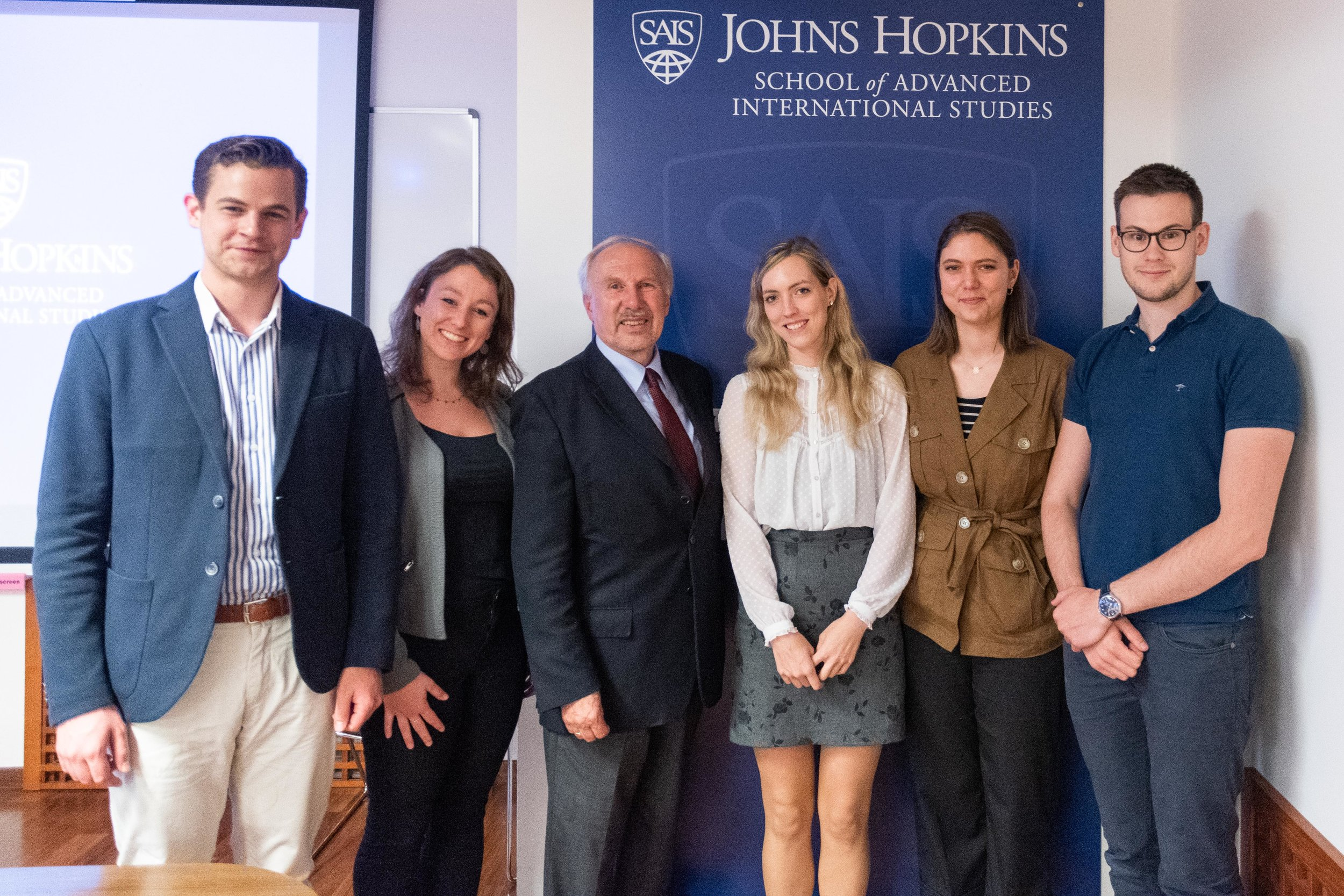Pictured from left to right: Maximilian Buchleitner (MA '19), Christina Riegler (MAIA '19), Ewald Nowonty, Sabrina Zechmeister (MA '19), Line Relisieux (France/Austria, MAIA '19) and Johannes Gaechter (MA '19)