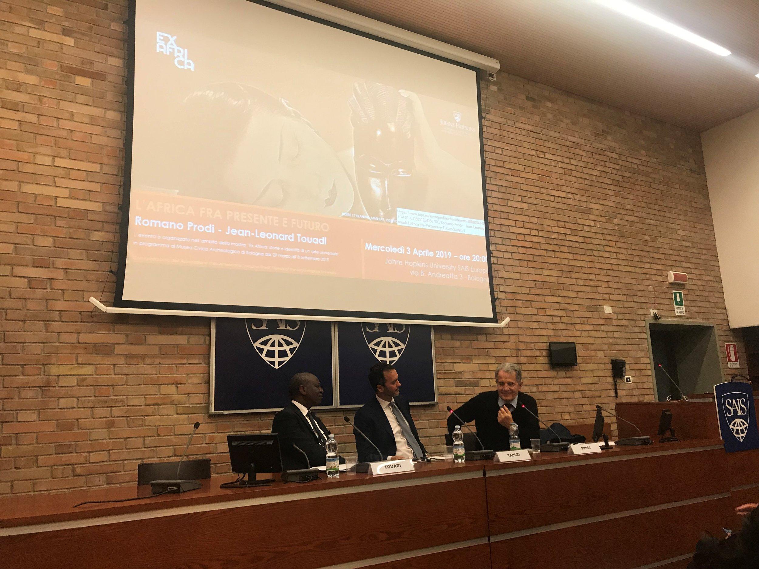 Pictured from left to right: Jean-Leonard Touadi, Filippo Taddei, and Romano Prodi
