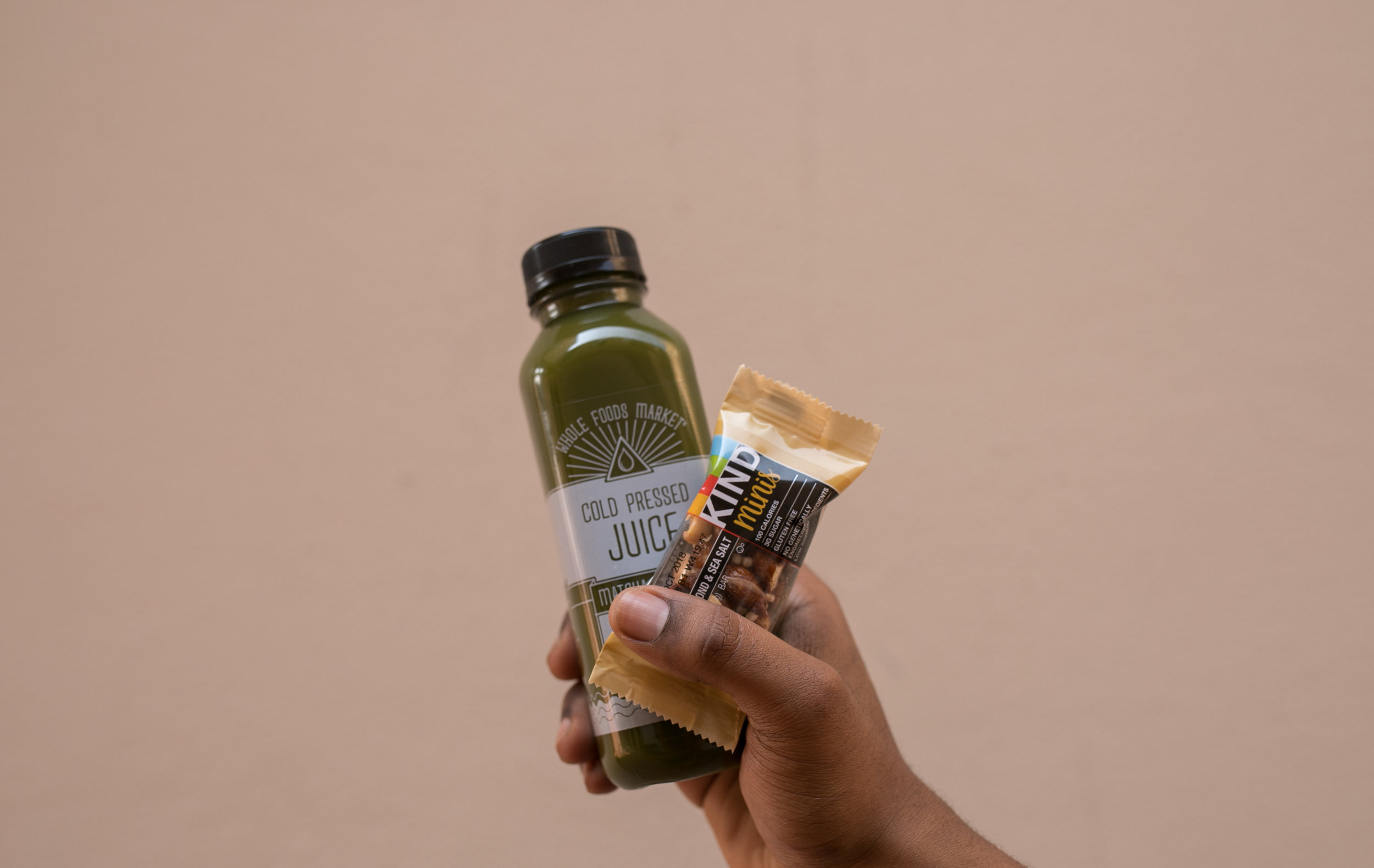 Favorite Snack Duo - WFM Cold Pressed Juice + Kind Mini Bar