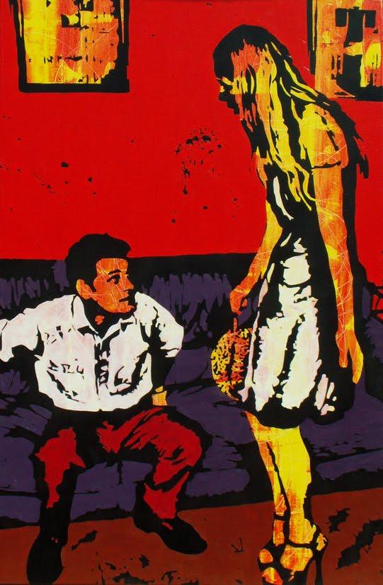 "The fight, 2008  Acrylic on canvas, 80 cm x 120 cm / 2' 7"" x 3' 11"""