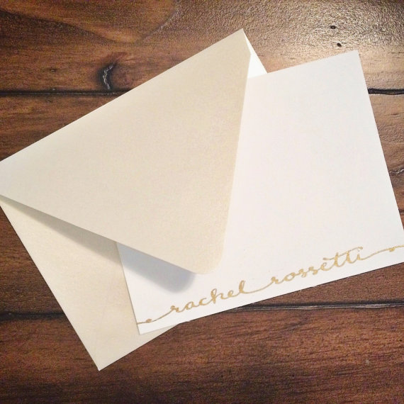 Custom embossed stationery I hand lettered for Rachel.