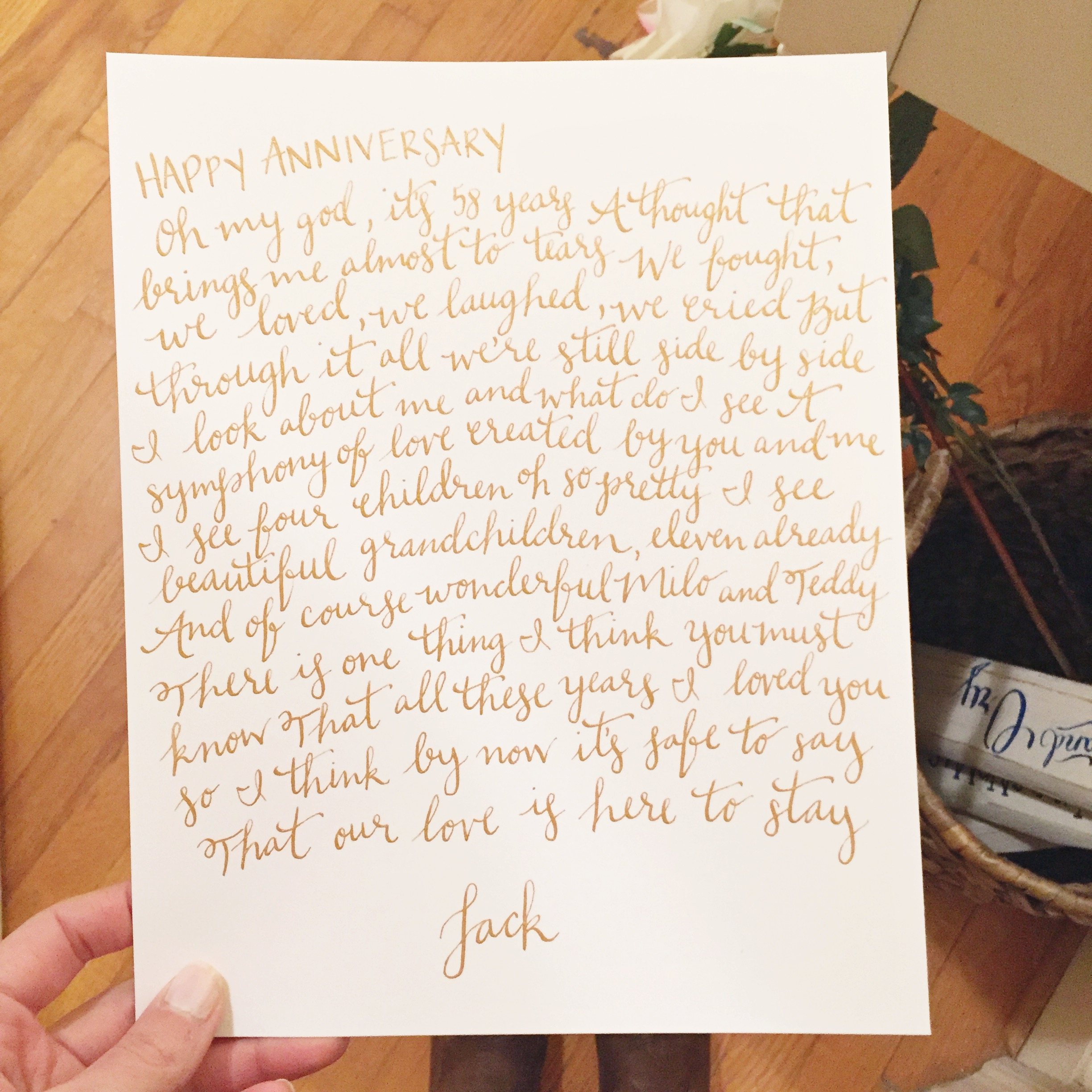 Jenna's grandfather wrote her grandmother this poem for their 58th wedding anniversary.