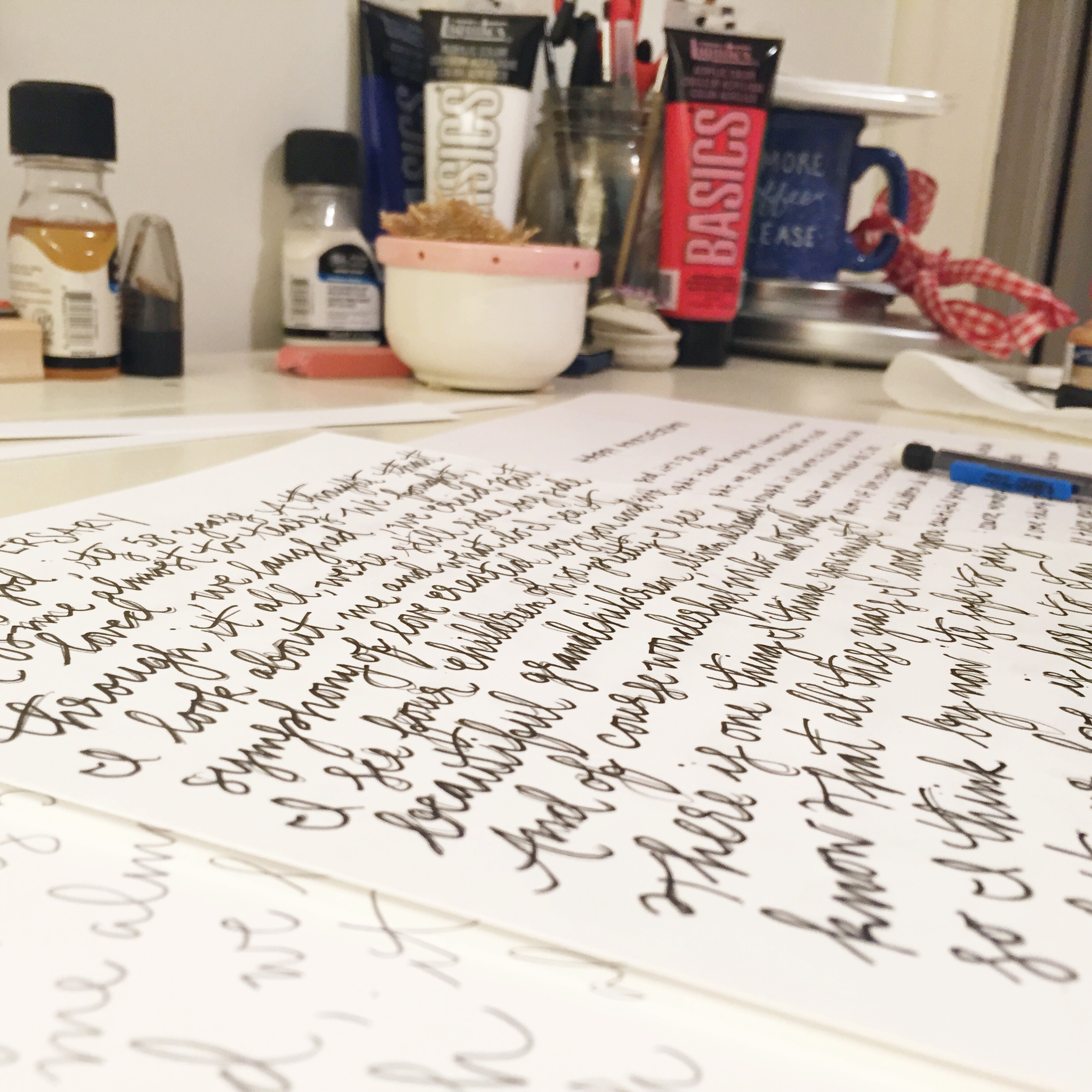Laying out the whimsical version of the Happy Anniversary poem.