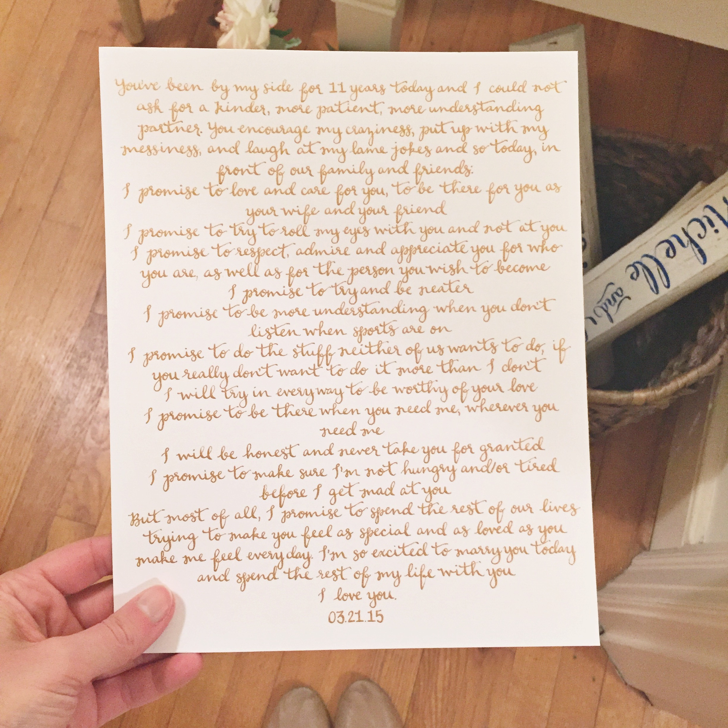personalized calligraphy vows