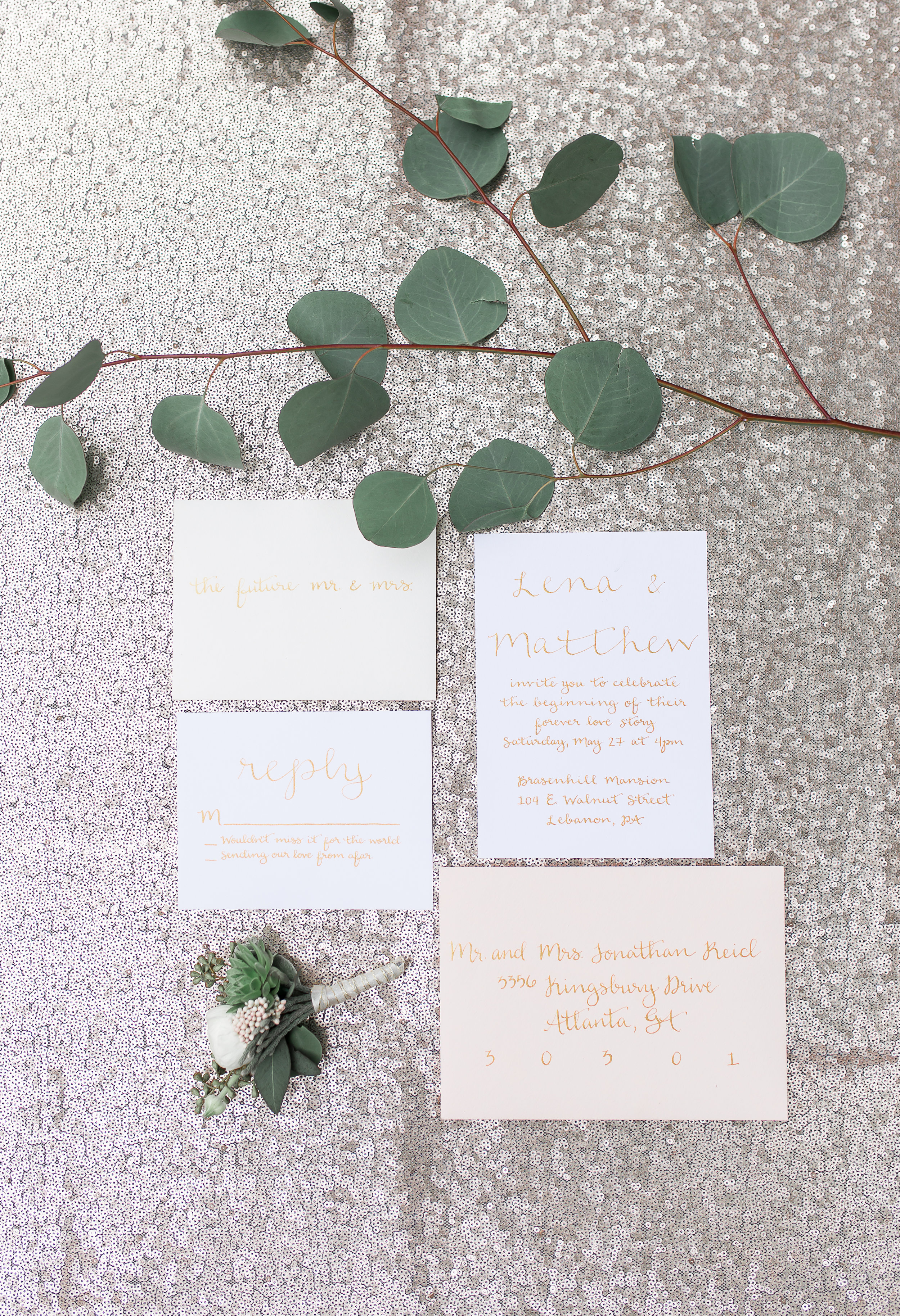 calligraphy wedding invitation suite as featured on borrowed and blue  photo by soul focus media