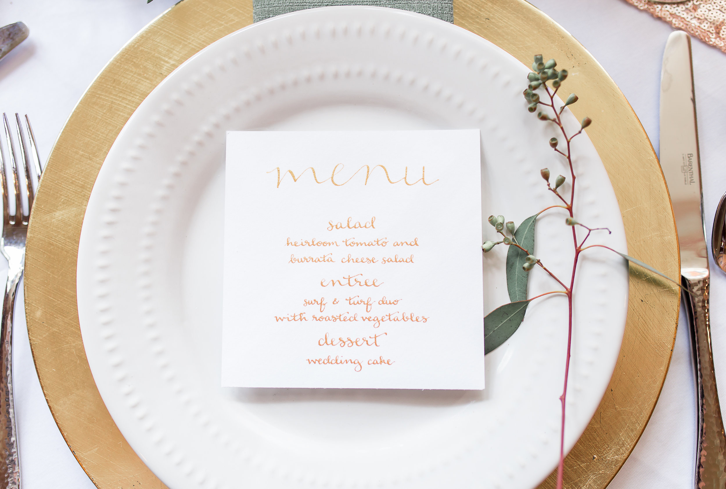 calligraphy wedding menu for a styled shoot featured in borrowed and blue  photo by  soul focus media