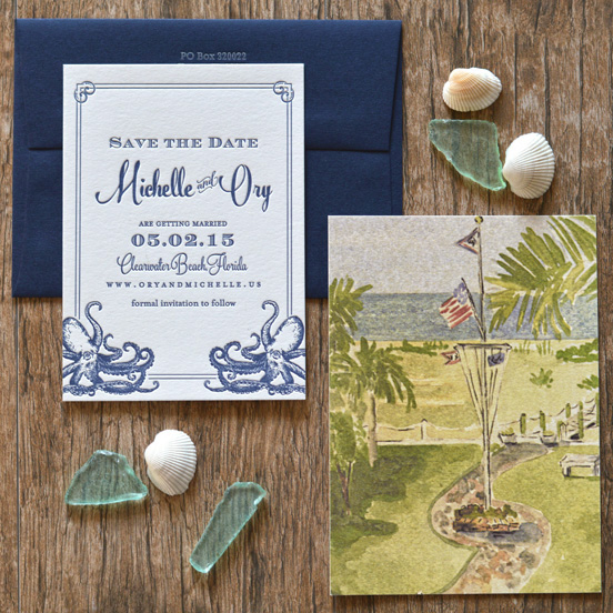 These octopi save the dates were the first place the octopus made an appearance. Alicia from  A&P Design Co  drew these vintage inspired octopi herself - incredible right? And the accompanying photo was a watercolor of our beachside reception venue. Photo by  A&P Design Co .