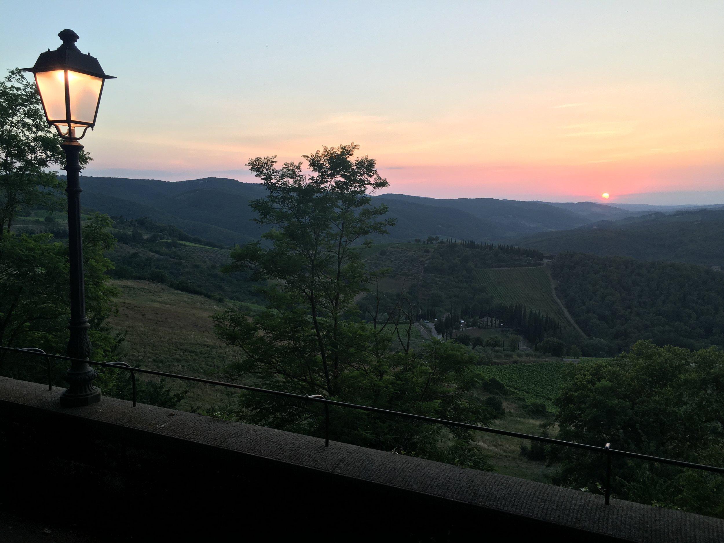 sunset in radda