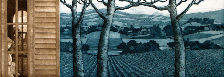 "Deep in the Valley • 7.75 x 21"" • etching/aquatint"