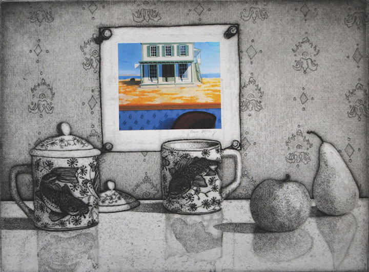 Still Life with Red Chair • etching/aquatint