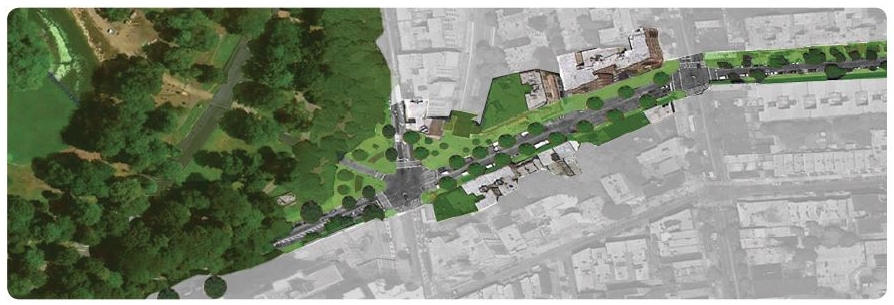 Bird's eye view of Revitalized Parkside Avenue Corridor