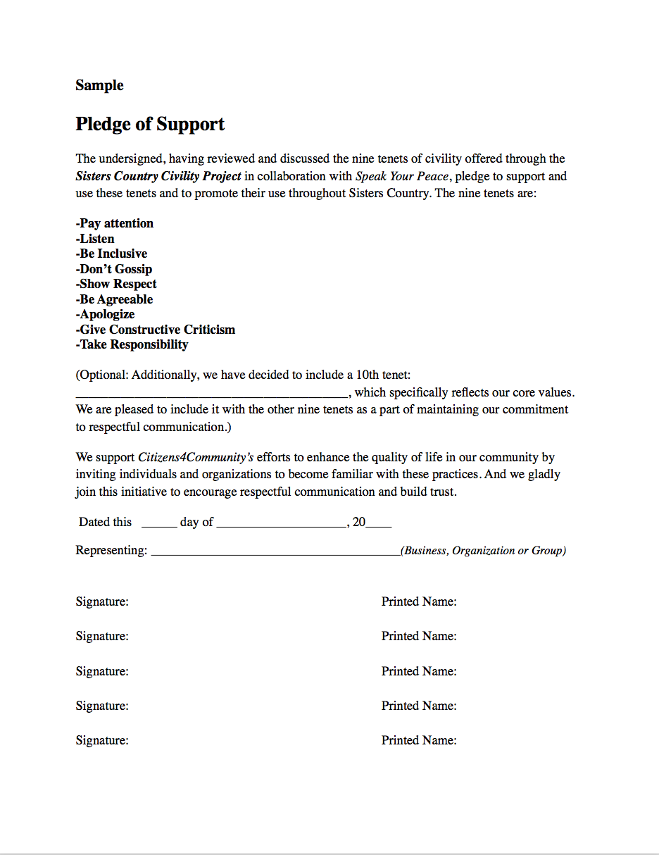 • SAMPLE PLEDGE OF SUPPORT  (Click on the image above to view or downloadthe sample pledge.)