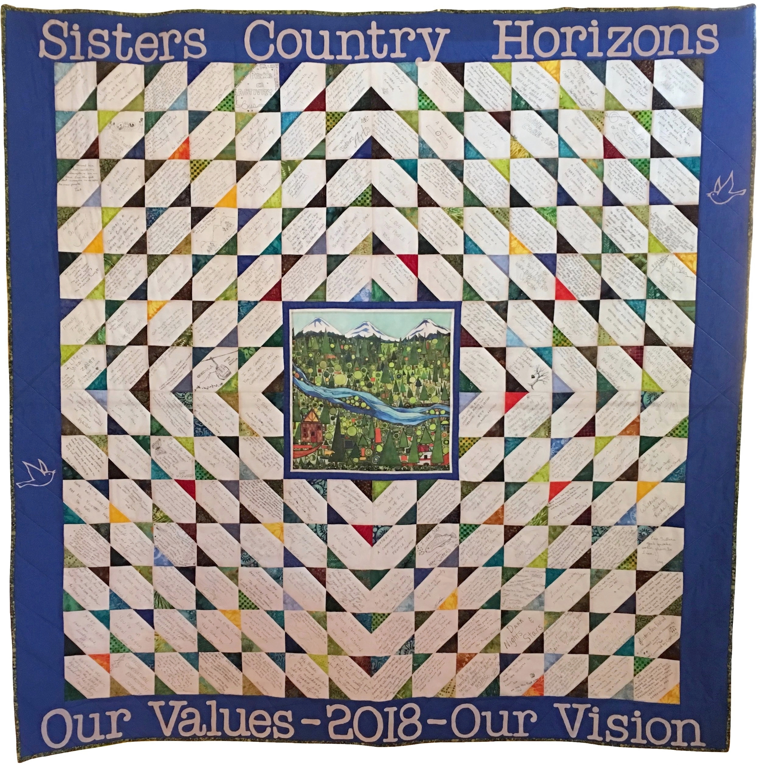 The quilt is meant to be a true community asset. Any area business, group or organization interested in displaying it is invited to contact Amy Burgstahler of  Citizens4Community  at aburgstahler@bendbroadband.com.)