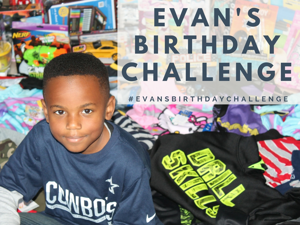 "Evan is a brilliant young boy with a huge heart!  He believes all children should experience the joy of receiving toys.  In 2015 & 2016 he hosted his birthday party to benefit the children of SWAGG Programs.  The many toys and kid friendly items he received were donated to SWAGG.     Can you imagine never having a birthday party? Every month, a homeless or foster child experiences this sad reality.  We challenge you to participate in #evansbirthdaychallenge and host a party during your birth month to receive items to donate. We have monthly parties honoring our SWAGGers at different venues within the community because we believe every child deserves to experience the joy of a ""birthday party"". This small gesture can help boost the self-esteem of a child in need."