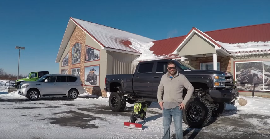 Mini Bike Plows out Monster Duramax - Click to View Video