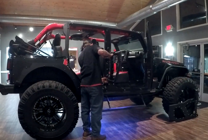 Installing DV8 Off Road Cage Doors on Jeep Wrangler Rubicon - Click to View Video