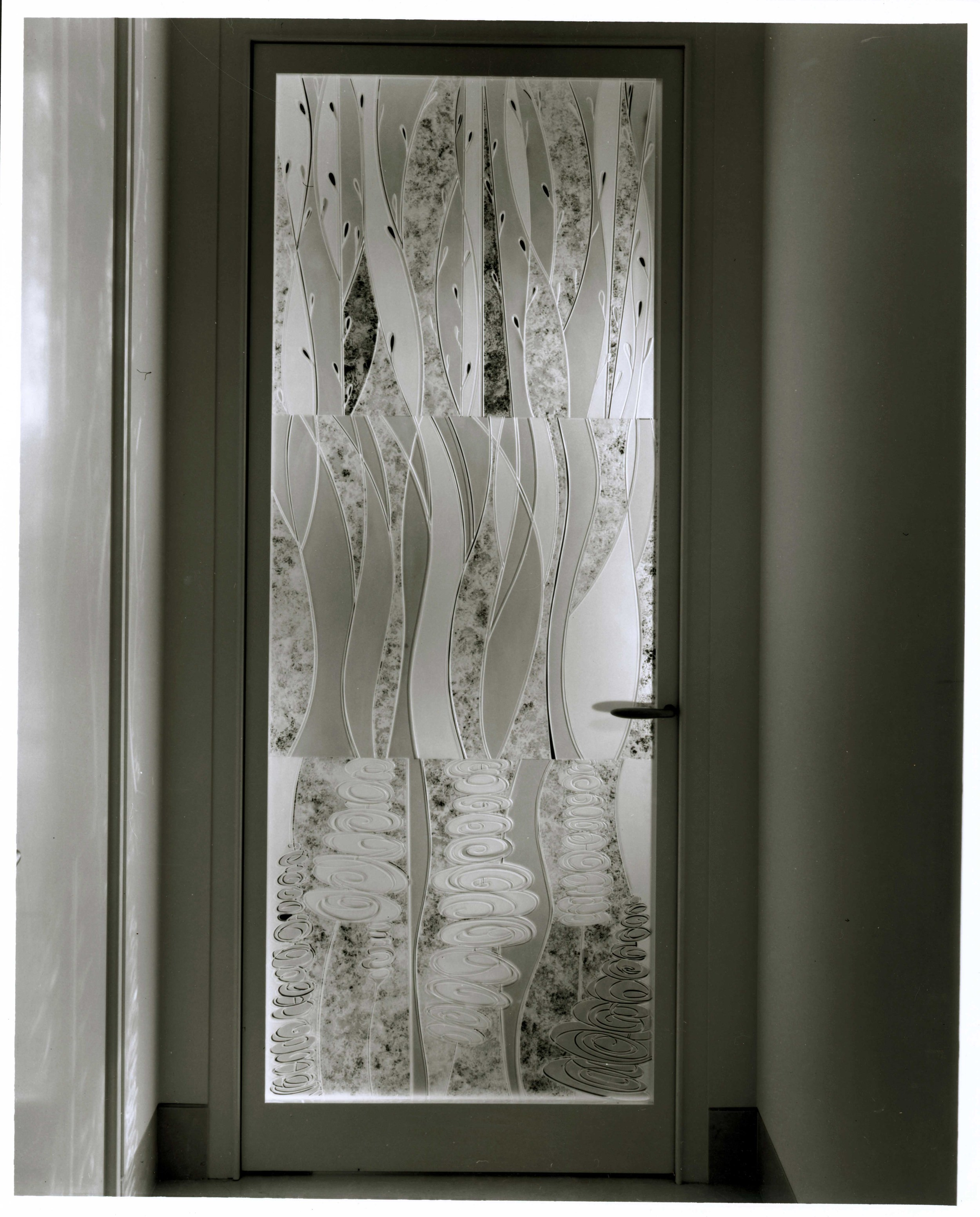 """Private Residence New York, New York Carved and Etched Glass 6.5' x 3' x 1"""""""