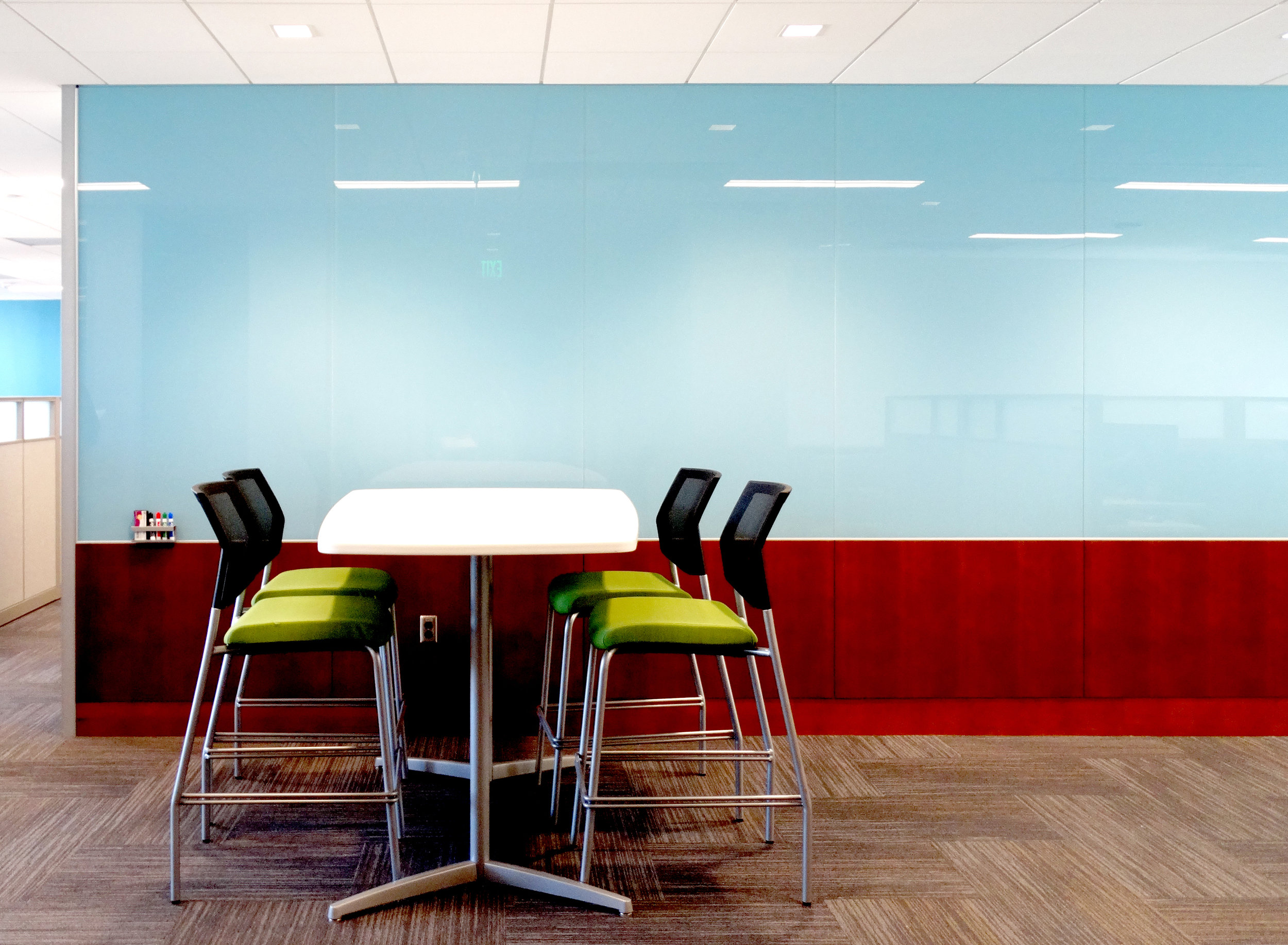 Custom Color Blue Back Painted Specialty Glass Marker Board Wall - Spaceworks AI.jpg