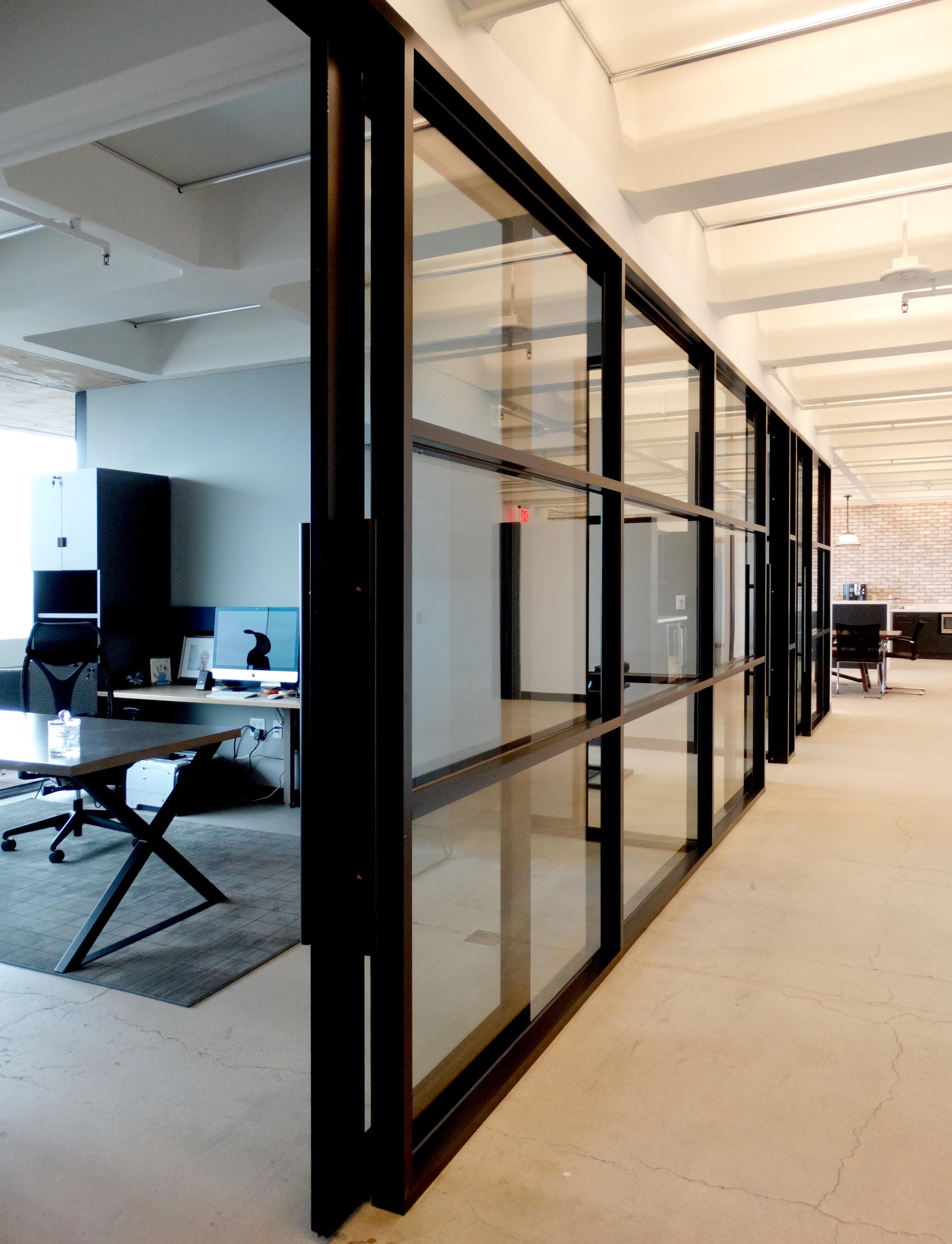 Encase Black Aluminum Framed Mullion Wall Sliding Door - Spaceworks AI.JPG