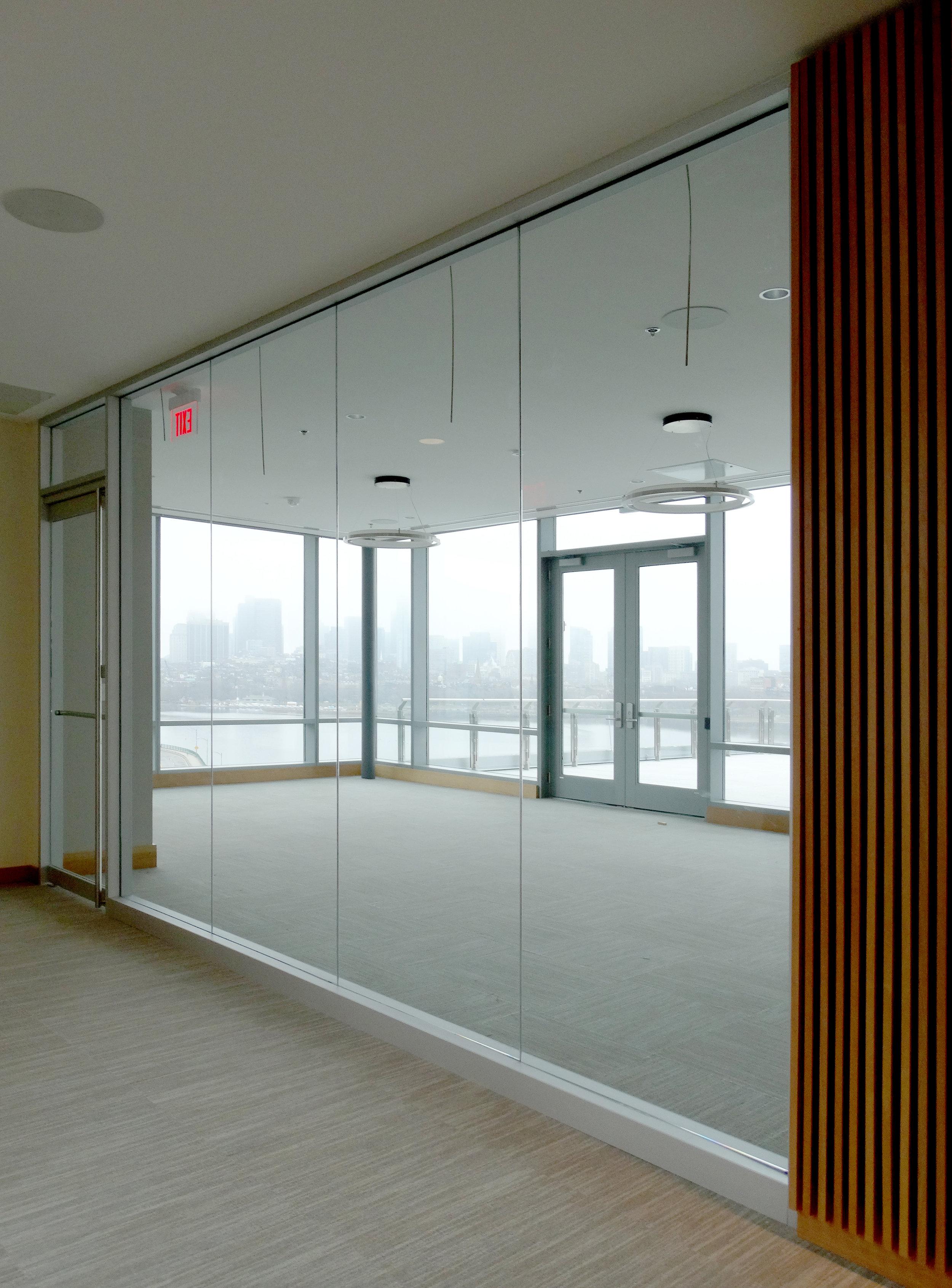 Encase Aluminum Framed Conference Wall Rail Glass Door - Spaceworks AI.jpg