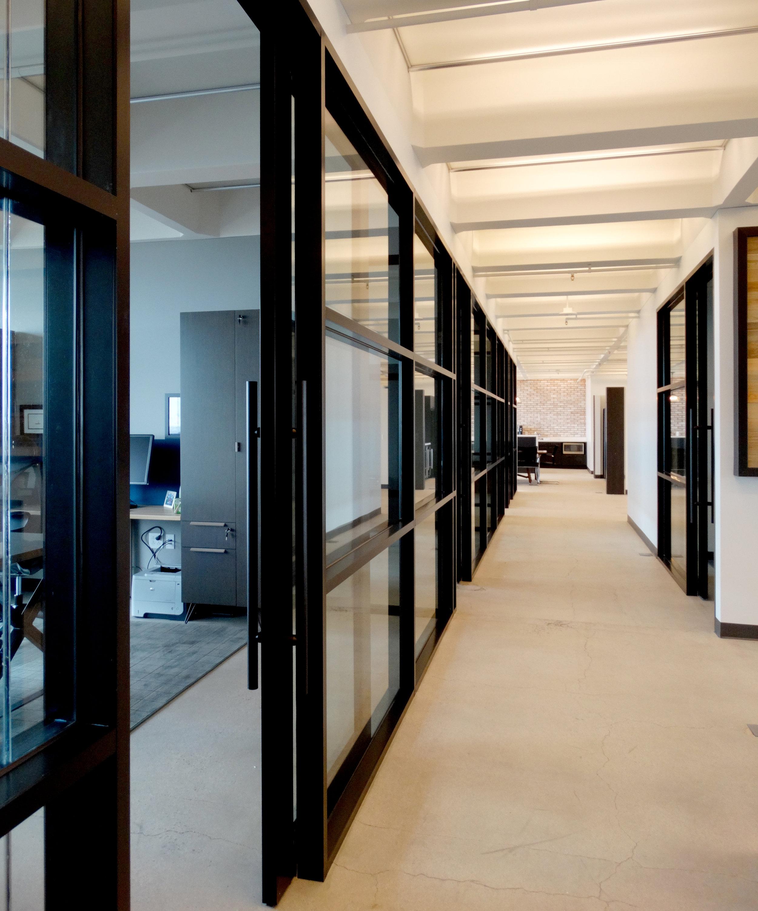 Encase Black Aluminum Framed Sliding Door Mullion Office Fronts - Spaceworks AI.JPG