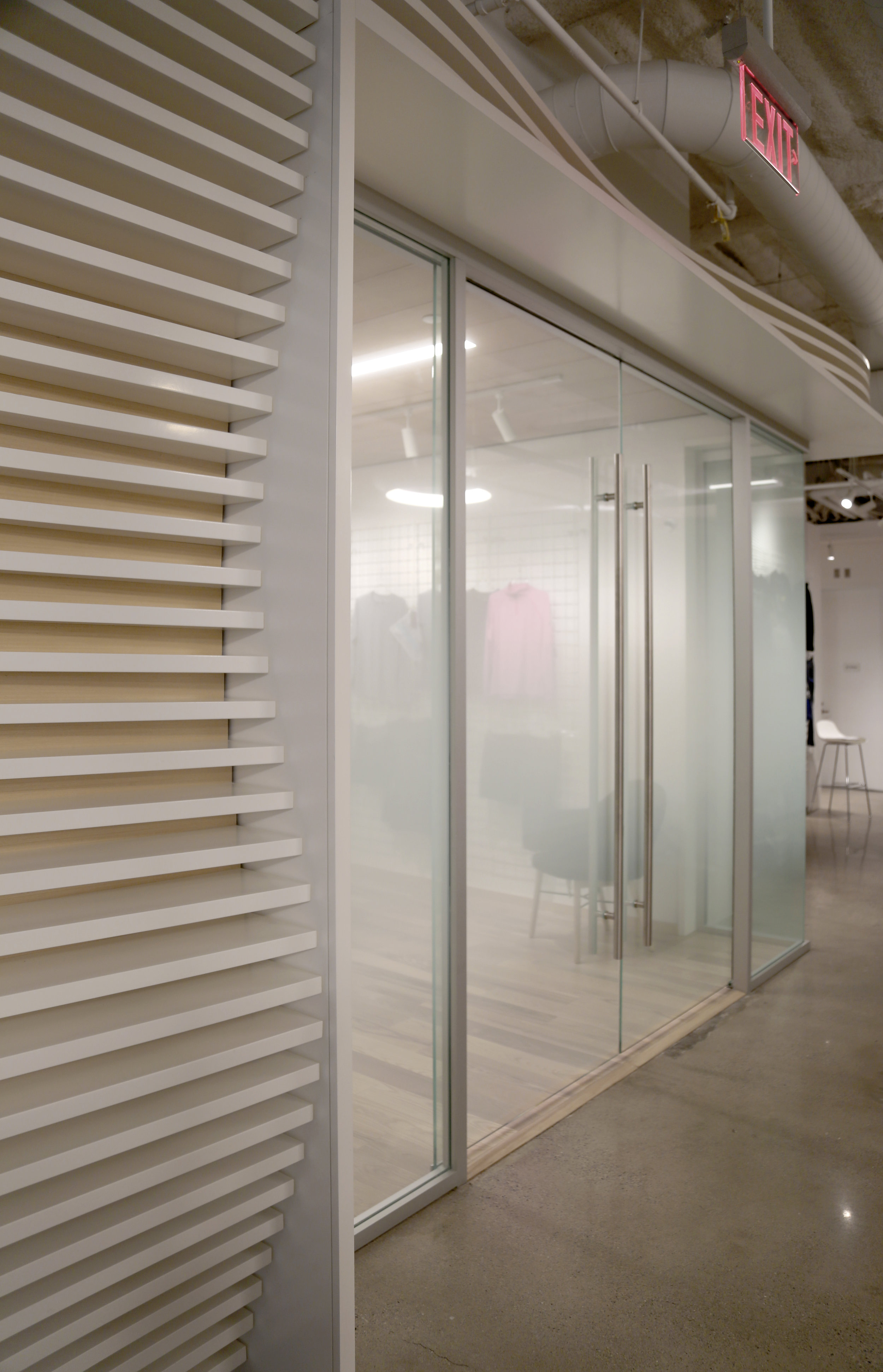 Custom Glass Film Millwork Front - Spaceworks AI