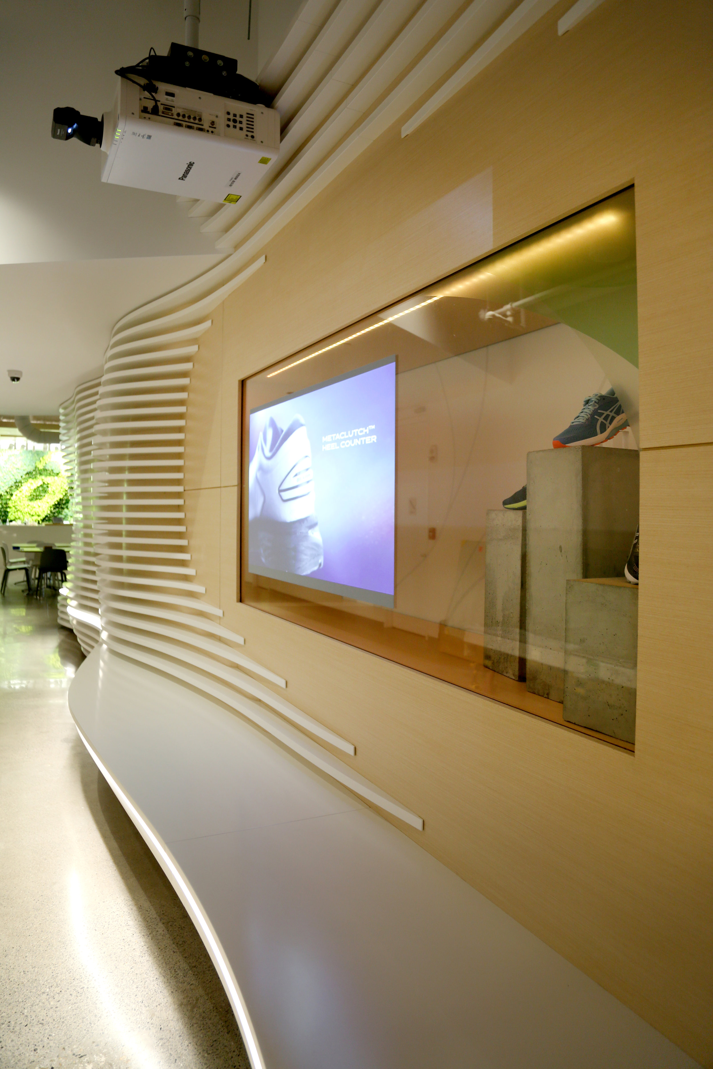 Custom Millwork Entryway Projection Glass - Spaceworks AI
