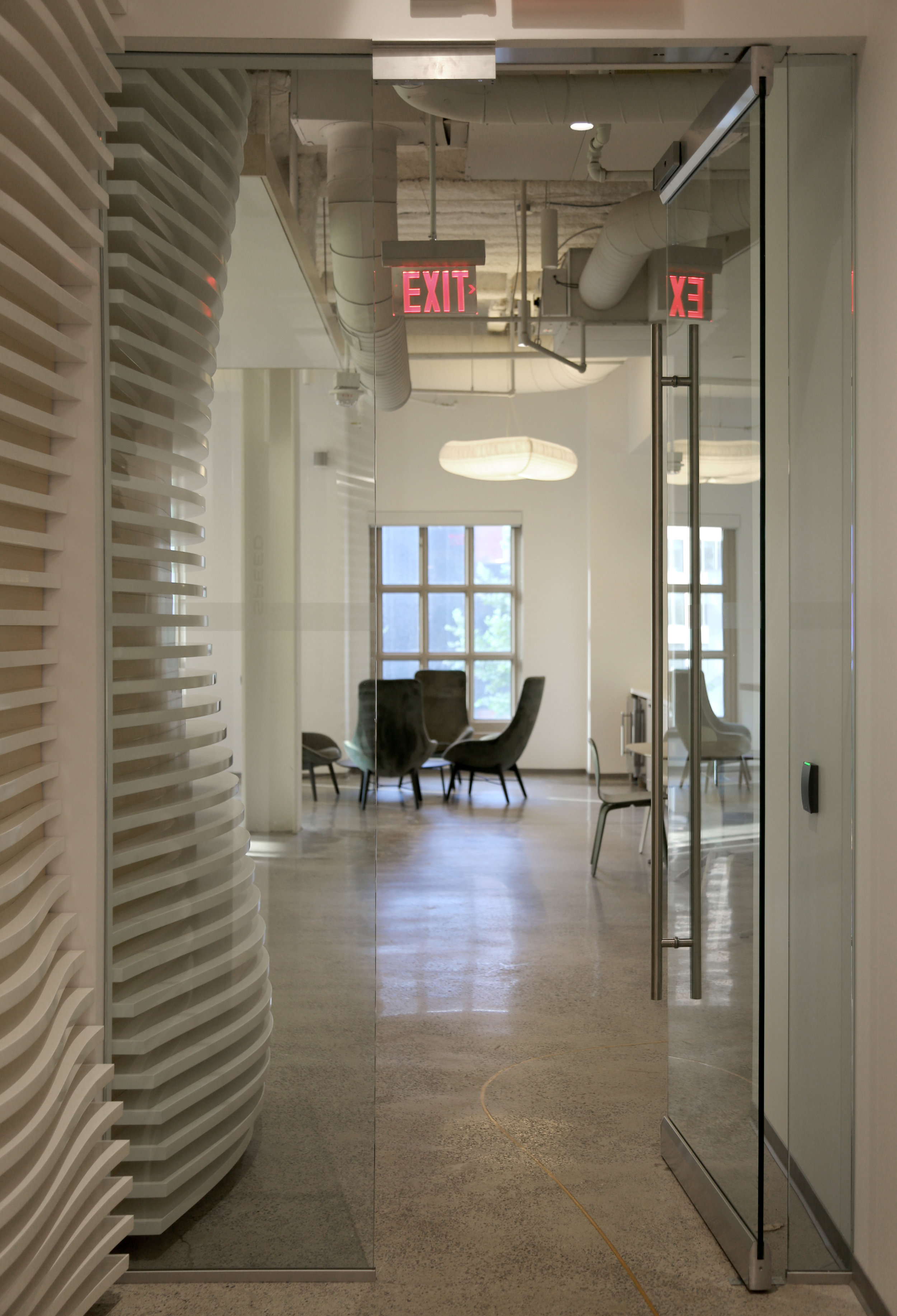 Millwork Glass Rail Entry Door - Spaceworks AI