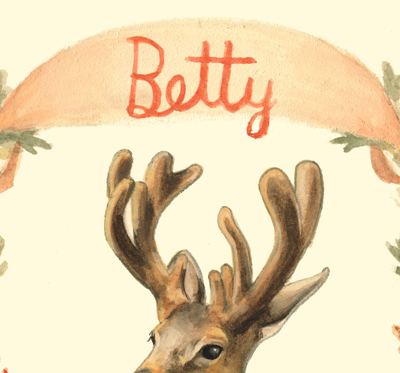 Sneak Peek: My 2015 Betty Christmas Card   Visions of sugar plums have been dancing in my head as of late, while I have been creating a holiday greeting for the sweet & charming   Betty Magazine .  Here is a sneak peek of their 2015 Christmas Promo Card that I have had the honor of designing and illustrating again for the second year in a row!       Stay tuned, the entire illustration will be shared soon as we get approach the Christmas countdown.  My goodness I love fa-la-laing! Meanwhile, a Happy Thanksgiving to those of you on this side of the pond.