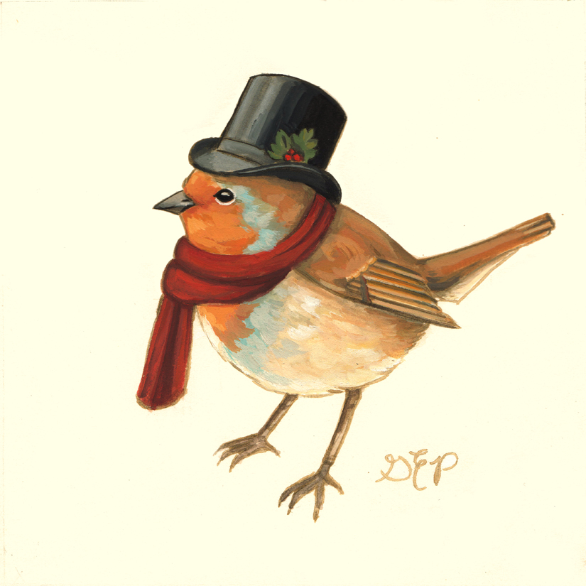 "Bob Cratchit    6""x6""  Gouache on paper It's no secret that I adore   Charles Dickens  , and   have been known to recite a quote   or   two  . (Confession: I was smitten with him in high school, and he's been my literary-sweetheart ever since.)  So it was only a matter of time until I turned one of his characters into an animal. In Bob Cratchit's case, a songbird. It seemed to me that a feathered friend matched Bob's disposition perfectly. Cheerful. Singing. Jolly. And all around a good-natured soul. Why, I have just described both Bob Cratchit  and  a robin!  ——–       Original Art Update   I have some exciting news! On October 22nd, I will be having some original work available at  KRASL Art Center  in St. Joseph, Michigan.   Please contact KRASL for inquiries about purchasing & reserving original art: info@krasl.org      I will be sharing all of the pieces shortly!"