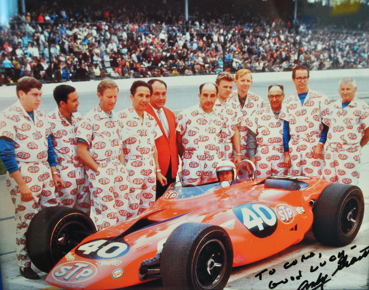 Joe, Andy and Vince Granatelli with team and Parnelli at Indy 1967- Addressed to me from Mr.500