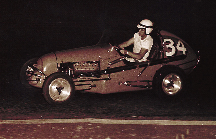 A daring Jack Corley strong-arming it through the turns sans firesuit