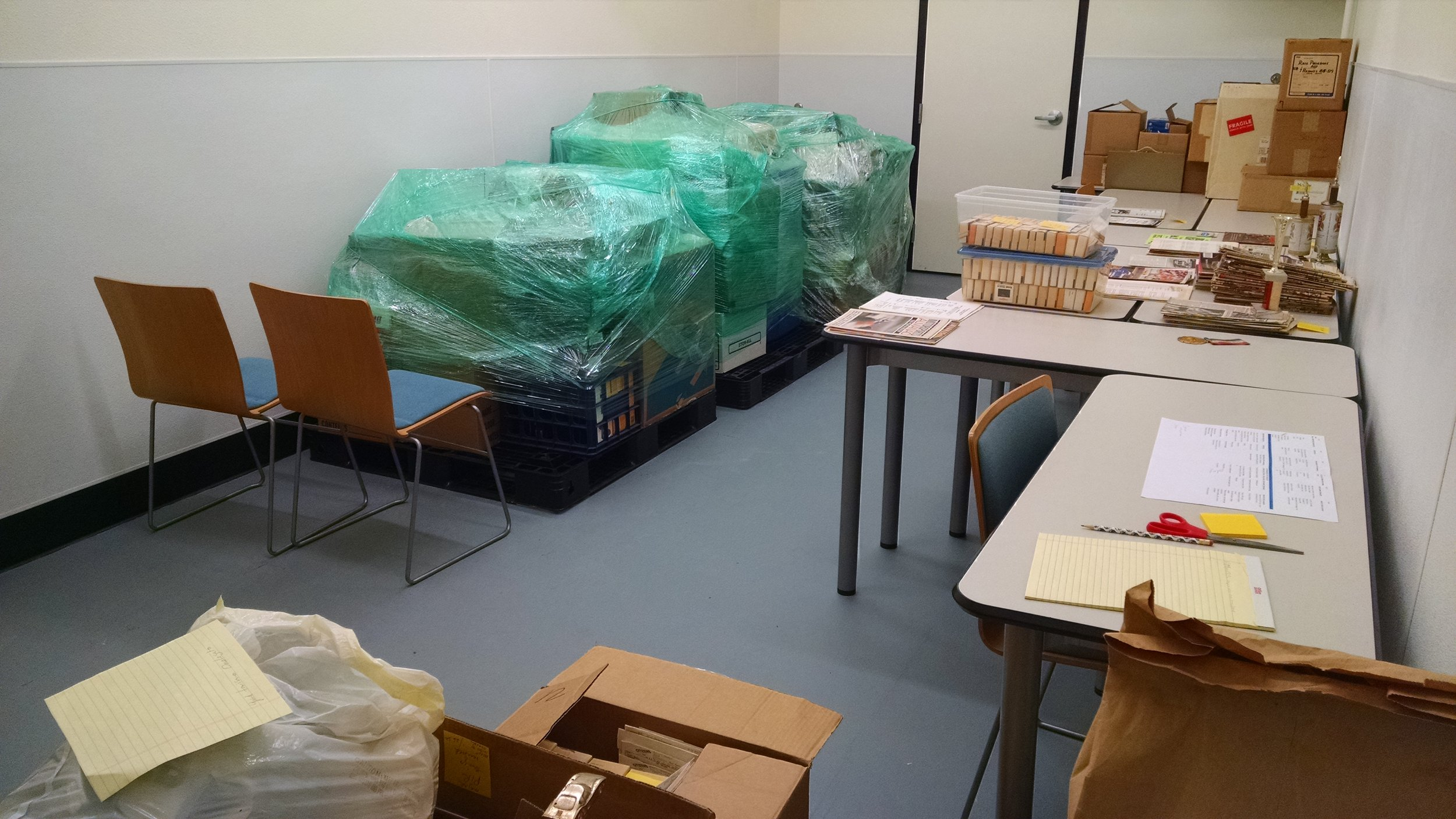 Our Archive Volunteer Processing Room when the Plotts collection on the left and Scott collection on the right where about to start.
