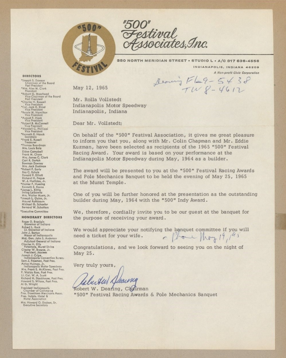 "Letter from the ""500"" Festival Association notifying Vollstedt that he is to receive the 1965 Festival Racing Award for his performance as a builder"