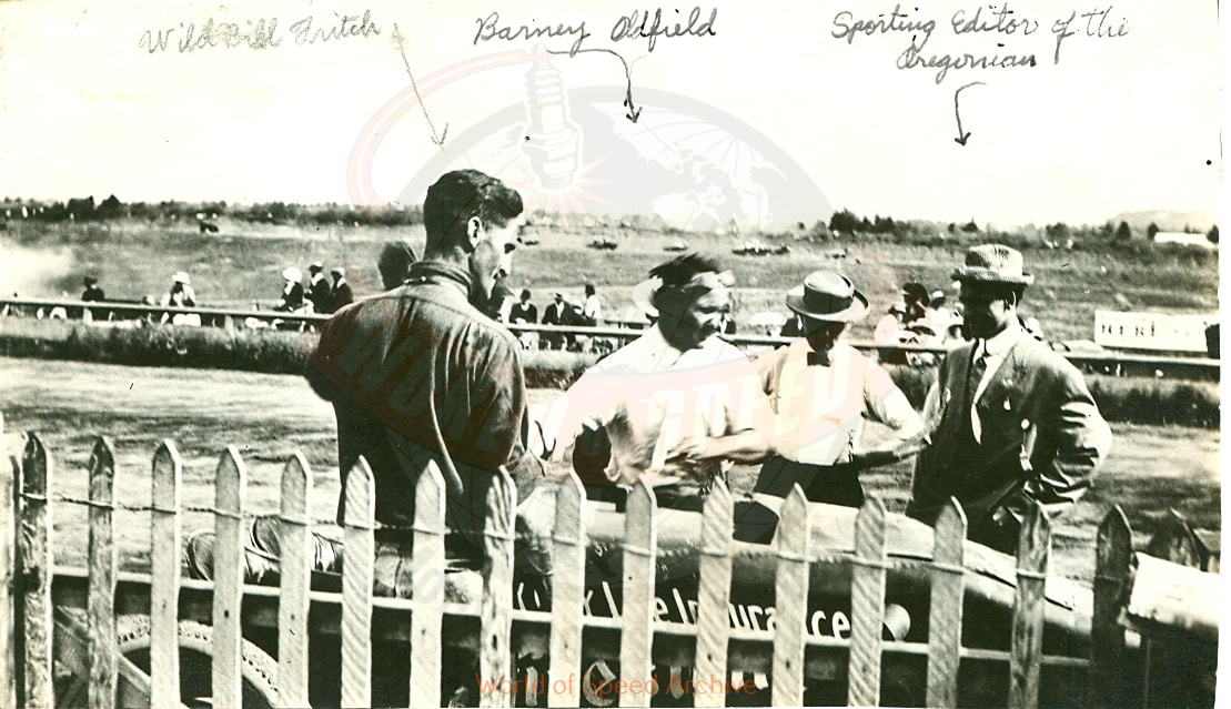Written on print left to right: Wild Bill Fritsch, Barney Oldfield, Sporting Editor of The Oregonian. Photo taken at the Rose City Speedway in the early 1900s.