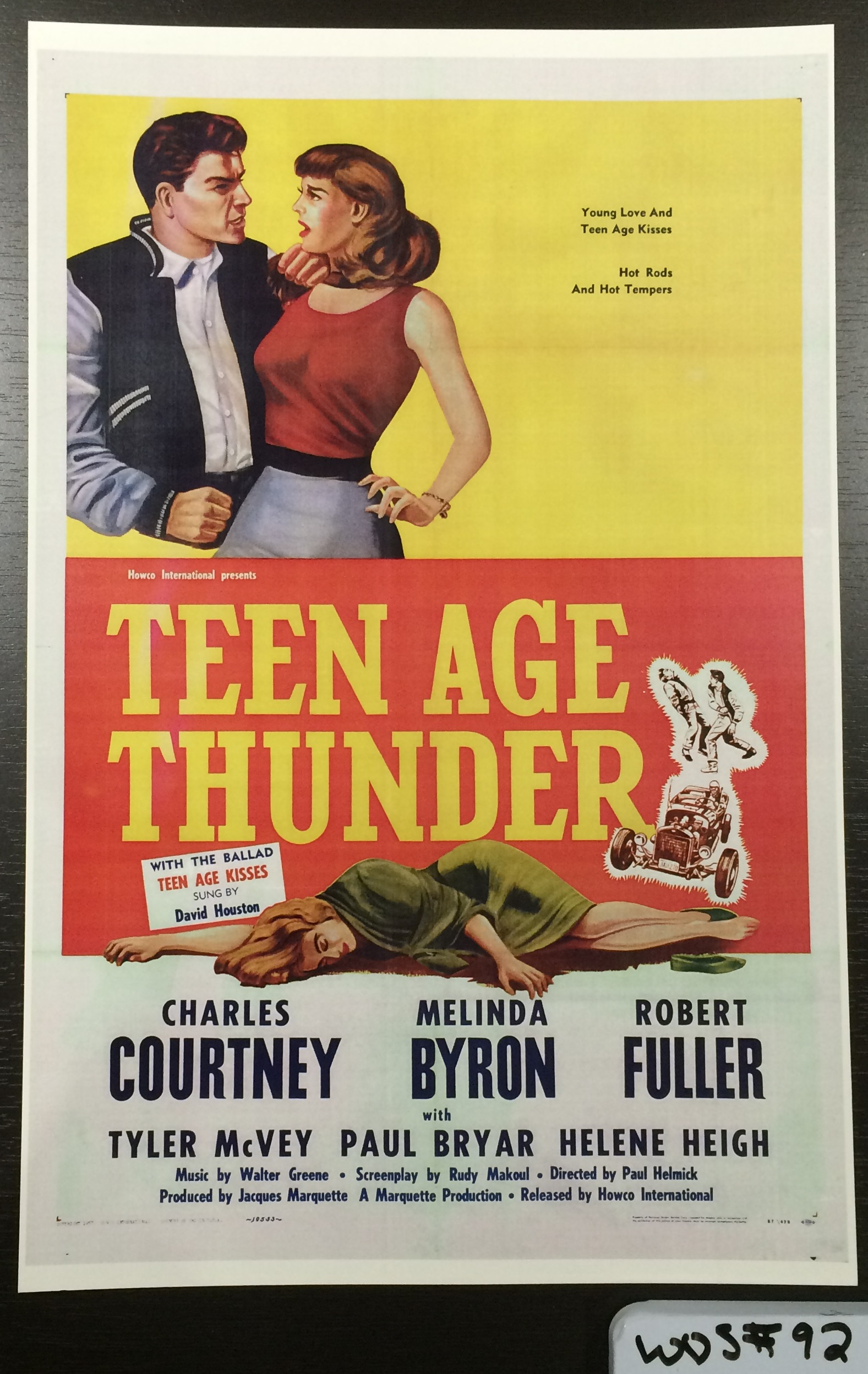 Reprint of Teen Age Thunder 1957 movie poster, WOS#92
