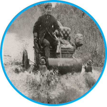 The first transcontinental car race across America starts in New York and ends in Oregon with Old Scout, driven by Dwight Huss, winning after 45 days.  Check out more about the first transcontinental race.