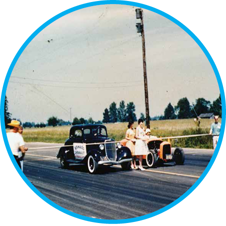 Woodburn Dragstrip opens with a 1/8 mile drag strip, expanding it two years later to a 1/4 mile in 1963 and welcoming the roar of dragsters for decades. Check out  local drag racer Herm Petersen's scrapbook .