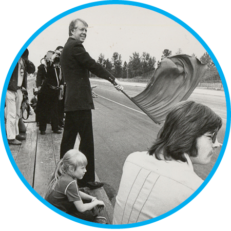 While on the road running for United States President prior to winning in 1977, Jimmy Carter flagged the race's start at Oregon's Portland International Raceway. Check out the story of  race flagger Ed Rose .