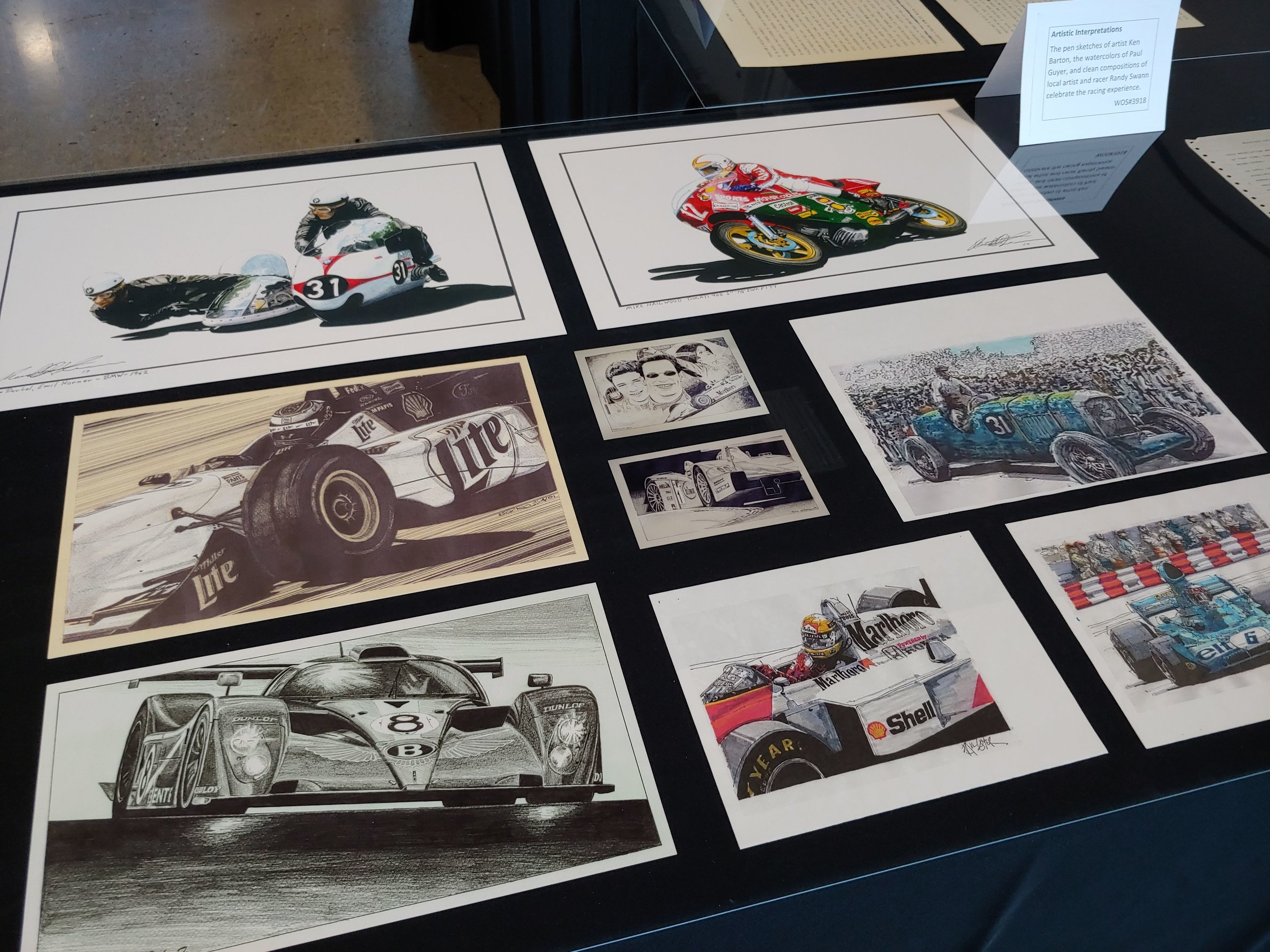 Artistic Interpretations   The pen sketches of artist Ken Barton, the watercolors of Paul Guyer, and clean compositions of local artist and racer Randy Swann celebrate the racing experience.  WOS#3918, #3455, #3454