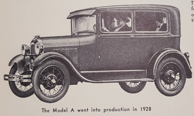 1928 Ford Model A Illustration from  A Pictorial History of the Automobile As Seen in Motor Magazine 1903-1953  by Philip Van Doren Stern, WOS#217 8