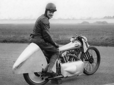 Motorcyclist Eric Fernihough set a motorcycle land speed record on this Brough Superior, achieving a speed of 163.82 mph.
