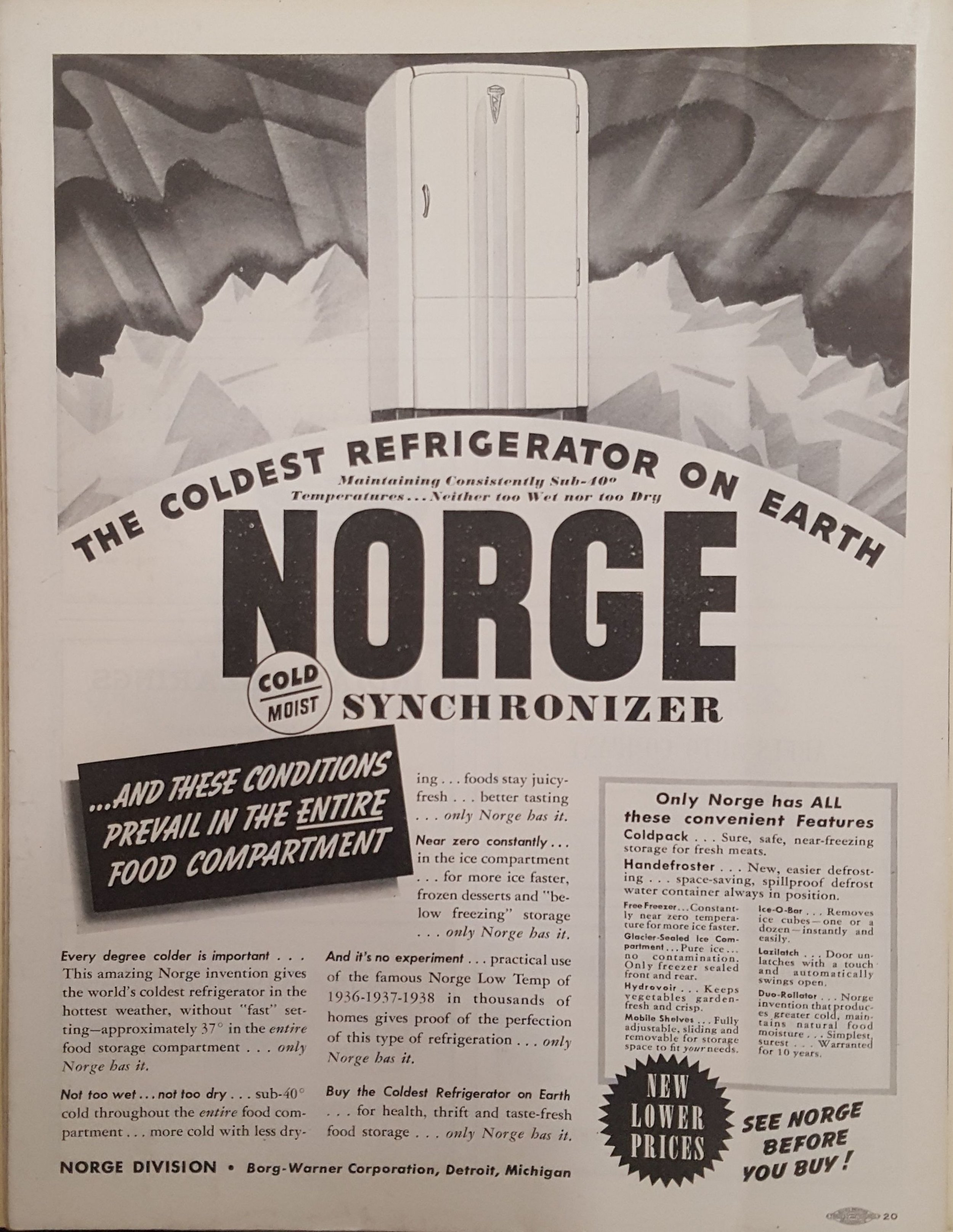 With its rounded corners, the Norge refrigerator model of 1934 reflects the look of the decade.