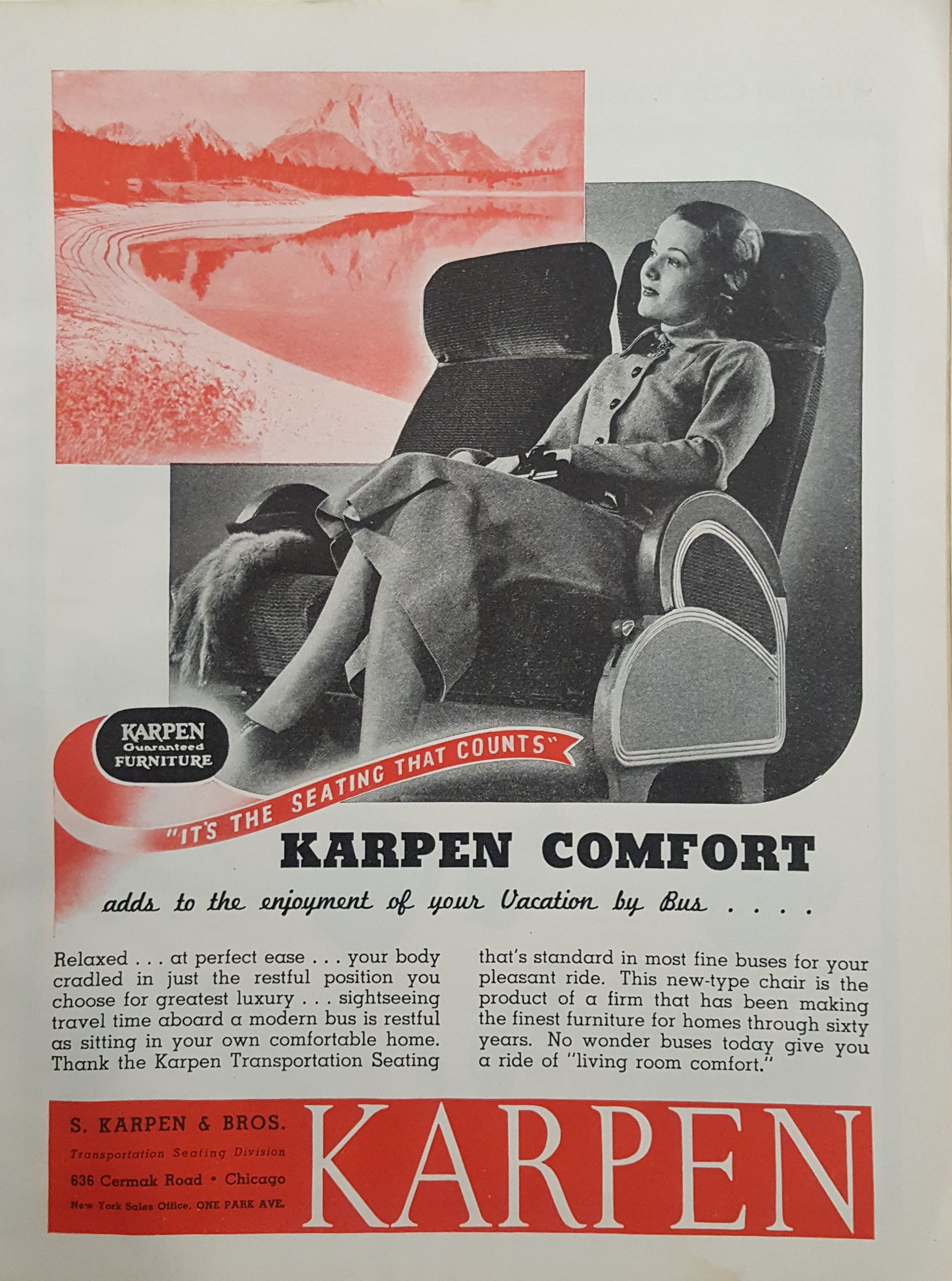 The scalloped-shaped curves of this bus seat are similar to those that adorn the roofline of Portland Bottling Company.
