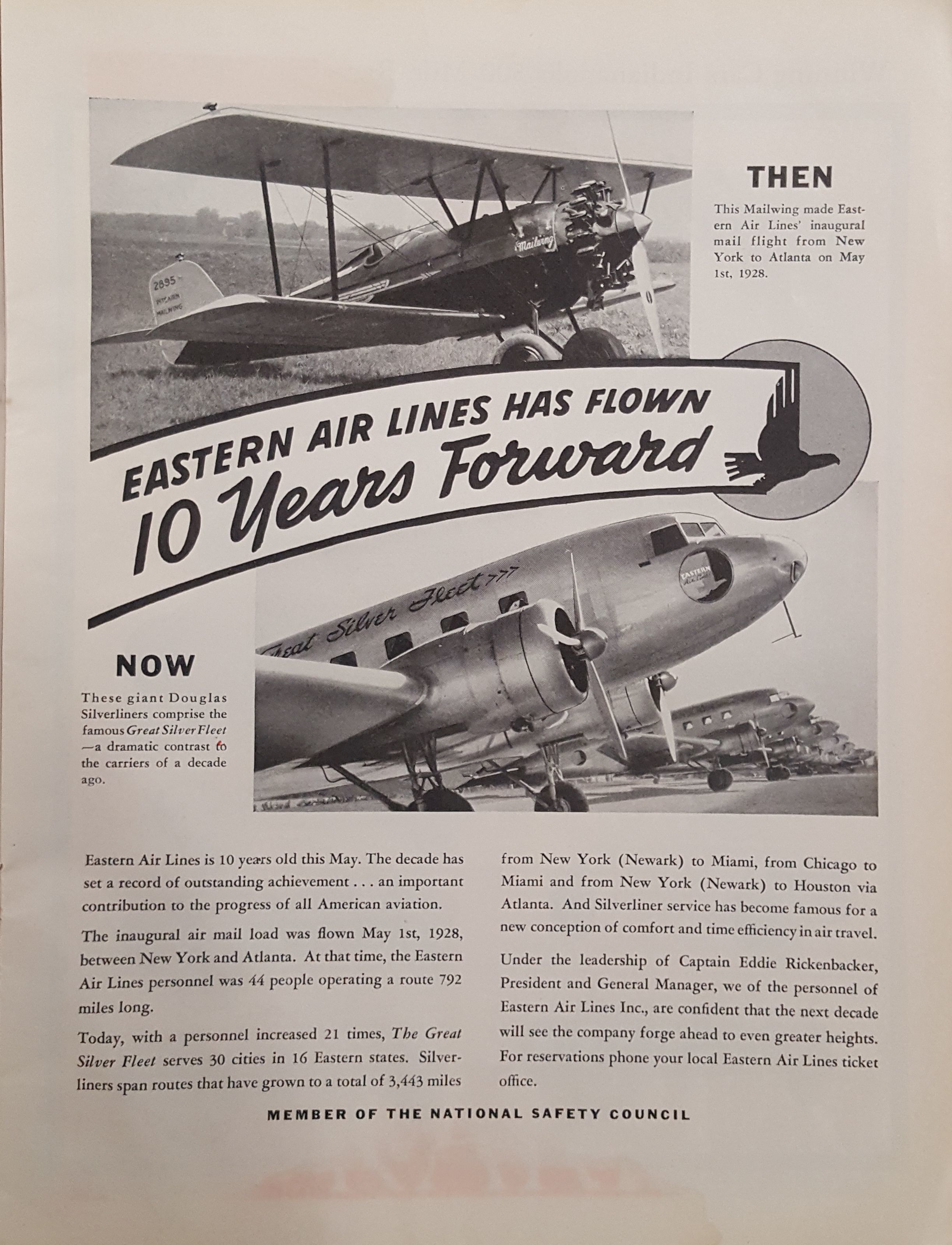 Eastern Air Lines Advertisement, Indianapolis 500 Program, 1938, page 37, WOS#2726